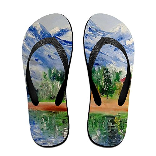 Men Flip Slippers Painting PTJHKET Village Black Flops Women Oil for Kids ZCwdwq8