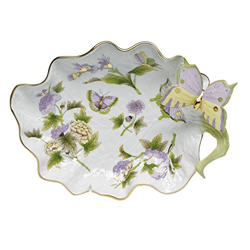 (Herend Royal Garden Large Leaf Dish With Butterfly)