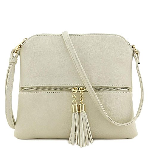 Lightweight Medium Crossbody Bag with Tassel (Beige) ()