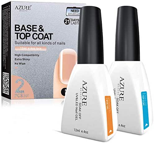 (2x12ml) Base Coat No Wipe Top Coat Set for UV LED Gel Nail Polish LED Nail Lamp 0.4 Ounce Big Capacity by AZUREBEAUTY