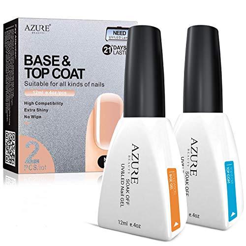 Base Coat Kein Wischen Top Coat Set für UV LED Gel Nagellack LED Nagel Lampe 0,4 Unze Große Kapazität von AZUREBEAUTY