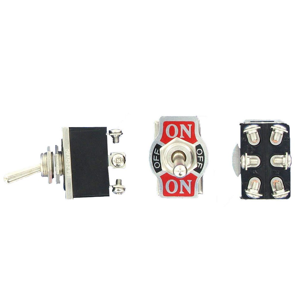 ESUPPORT Car Univeral Heavy Duty 20A 125V SPDT 3P ON//OFF//ON Rocker Toggle Switch Metal Waterproof Boot Cap 12mm Pack of 3
