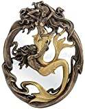 Resin And Glass Wall Mounted Mirrors Holding On Merman & Mermaid In A Fluid Embrace Bronze & Gold Finish Wall Mirror 7.5 X 10 X 0.5 Inches Bronze Review