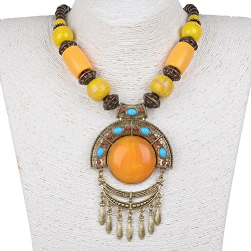 Chunky Wood Bead (SUMAJU Enamel Wood Beads Round Statement Necklace Pendant)