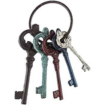 Set of 4 Youngs Inc 30444 Cast Iron Single Key on Ring 7-Inch