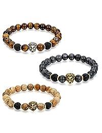 Flongo Men's Womens Biker Lion Head Payer Buddhist Bead Link Bracelet, 8.7 inch
