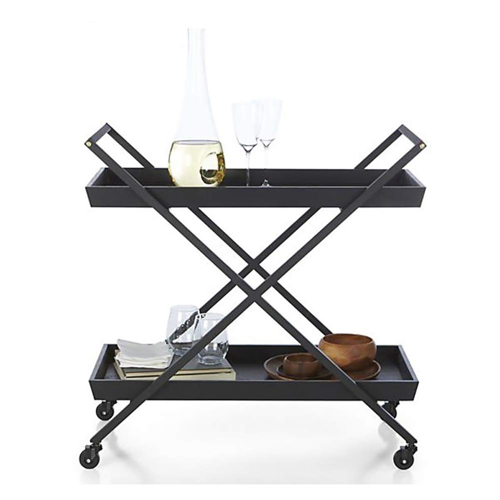 Dining Car, European Modern Dining Car Wine Rack Wine Cart Hotel Trolley, Household Metal Storage Rack with Wheels(603575cm) by Kitchen Cart (Image #1)