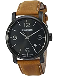 Wenger Mens Urban Metropolitan Swiss Quartz Stainless Steel and Leather Casual Watch, Color:Brown (Model: 01.1041.129)