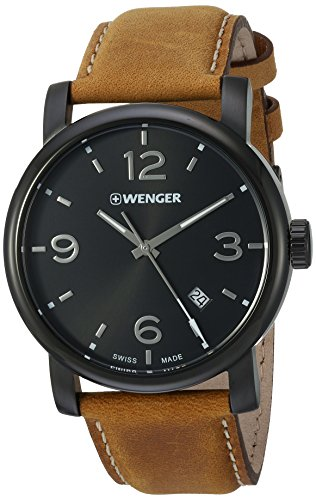 Wenger Men's 'Urban Metropolitan' Swiss Quartz Stainless Steel and Leather Casual Watch, Color:Brown (Model: 01.1041.129)