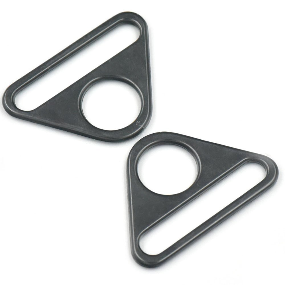 Bluemoona 20 Pcs - 1.5 38mm Metal Adjuster Triangle Ring with Bar Swivel Clip D Dee Buckles Black