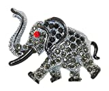 Black Elephant Brooch Pin with Crystal Accents