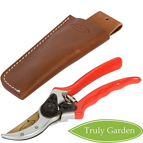 """- Truly Garden Pruning Shears - 8"""" Premium Titanium Bypass Pruning Shears With Leather Case, Aluminum With Coated Handle For Easy Grip, Hand Pruners, Tree Trimmer, Garden Clippers, Flower Cutter"""