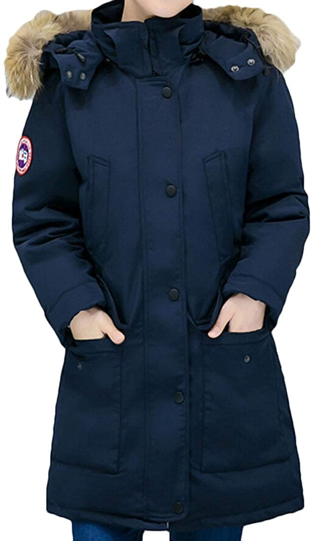 Gocgt Women Puffer Long Coat Thicker Down Jacket with Faux Fur Trimmed Hood