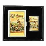 INDIAN MOTORCYCLE 1918 WORLD WAR I MILITARY Cigarette Case Oil Lighter Gift Set D-289