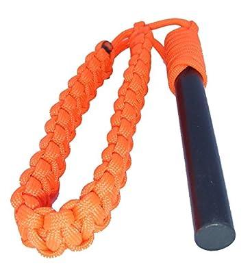 Fire Starter, Large Firesteel Ferro Rod, 5 inch x 1/2 inch Ferrocerium Emergency Flint Survival Tool w/ 14 feet 550 Paracord, Blaze Orange by Front Range Survival LLC