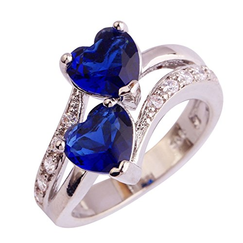 Emsione Vintage 925 Sterling Silver Plated CZ Double Heart Created Sapphire & Topaz Love Wedding Promise Ring