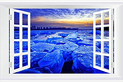 SHOBRILF Ice Blocks on The River - Nature - #48907 - Art Print 3D Fake Windows Wall Stickers Removable Poster Wall Decor for Livingroom Bedroom 45x30 inches ()
