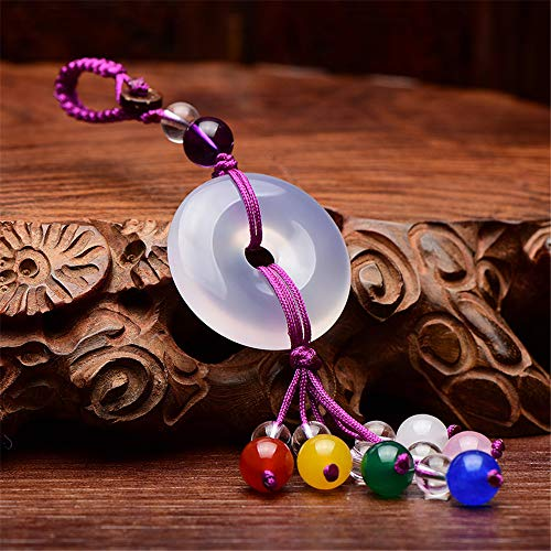 Traditional Chinese Jade Agate and Quartz Charm Keychain with Colorful Gemstones Chinese Style Ornament Good Luck Charm (white)
