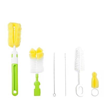 Isuper Set de Cepillo para Biberones,Cepillo de Limpieza,Limpieza de Biberón Escobilla para Limpiar Biberón Botella para bebé(6pcs/color aleatorio)