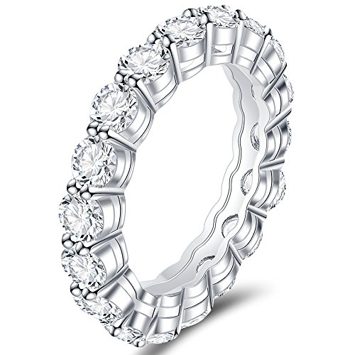Eternity Setting Prong Ring (Jude Jewelers Stainless Steel Prong Setting Cubic Zircon Eternity Wedding Band Ring (Silver & Clear, 6))