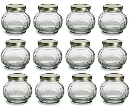 12 pcs, 8 oz Round Glass Jars for Jam, Honey, Wedding Favors, Shower Favors, Baby Foods, Canning, spices ()