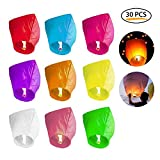 KOBWA Chinese Paper Sky Lanterns,30PCS Safety Wishing Lantern Light For Multicolor Assortment for Birthdays, Parties, New Years, Memorial Ceremonies