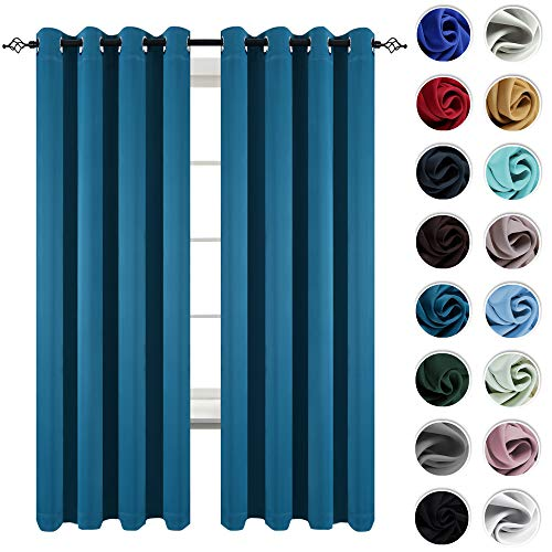 KEQIAOSUOCAI 2 Pack Teal Blackout Window Curtains Panels Room Darkening Window Treatment Thermal Insulated Grommet Top Curtain Drapes for Kids Room Living Room 52 Inches Wide by 84 Inches Long (Dark Teal Panels Curtain)