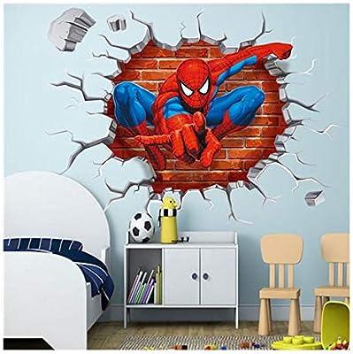 DIY Spiderman Wall Sticker Superhero Bedroom Decor Kids Poster Red