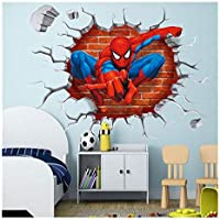 DIY Spiderman Wall Sticker Superhero Bedroom Decor Kids Poster Red Avengers Wall Sticker Removable