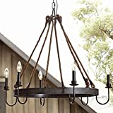 Ladiqi Industrial Chandelier Rustic Hemp Rope Island Light Pendant Light Ceiling Light Fixture
