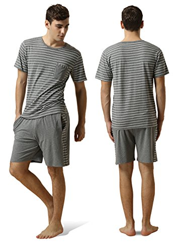 QIANXIU Men's Summer Short Sleeve Pajamas Casual Striped Shorts & Shirt PJ Set, Grey, Large by QIANXIU (Image #2)