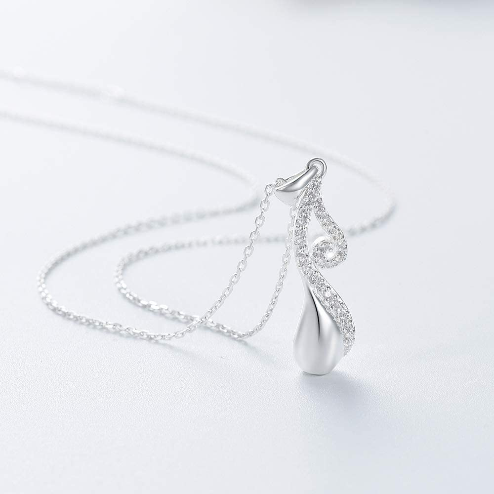 Yinplsmemory S925 Cremation Memorial Necklace for Ashes Crystal Teardrop Urn Pendant Keepsake Urn Jewelry