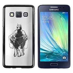 Caucho caso de Shell duro de la cubierta de accesorios de protección BY RAYDREAMMM - Samsung Galaxy A3 SM-A300 - Man Body Pencil Drawing Art