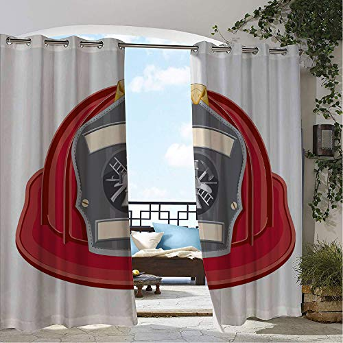 Linhomedecor Outdoor Waterproof Curtain Fireman Traditional Firefighter Icon Fire Department Logo Public Servant Uniform Red Grey Beige pergola Grommet Free Curtain 108 by 108 inch