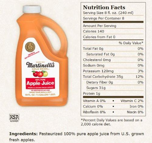 Martinellis Organic Apple Juice, 64 Ounce -- 6 per (Cider Jug)