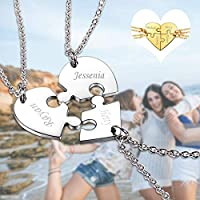 U7 BFF Necklace for 2/3/4 Stainless Steel Chain Personalized Family Love/Friendship Jewelry Set Free Engraving Heart Pendants (Set of 4 Gold Customized) …