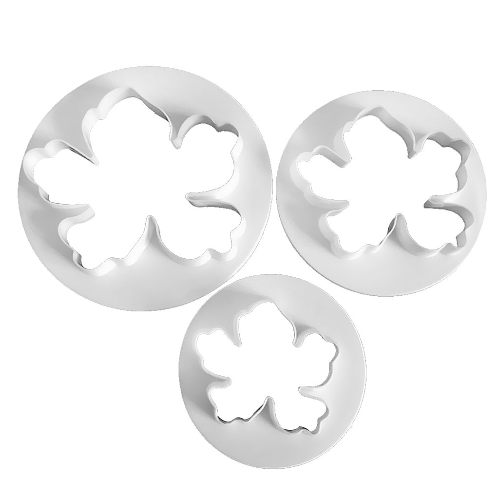 Dovewill 3 Piece Plastic Hawaiian Flowers Cookie Cutter Cake Decorating Tool Biscuit Mold White