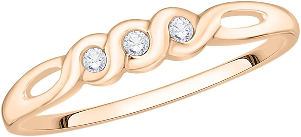 G-H,I2-I3 Size-3.25 3 Diamond Promise Ring in 14K Pink Gold 1//20 cttw,