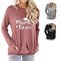 Barnkas Women Mama Bear Shirt Batwing Long Sleeve Sweatshirt Loose Fit Casual Tops T Shirts with Pockets