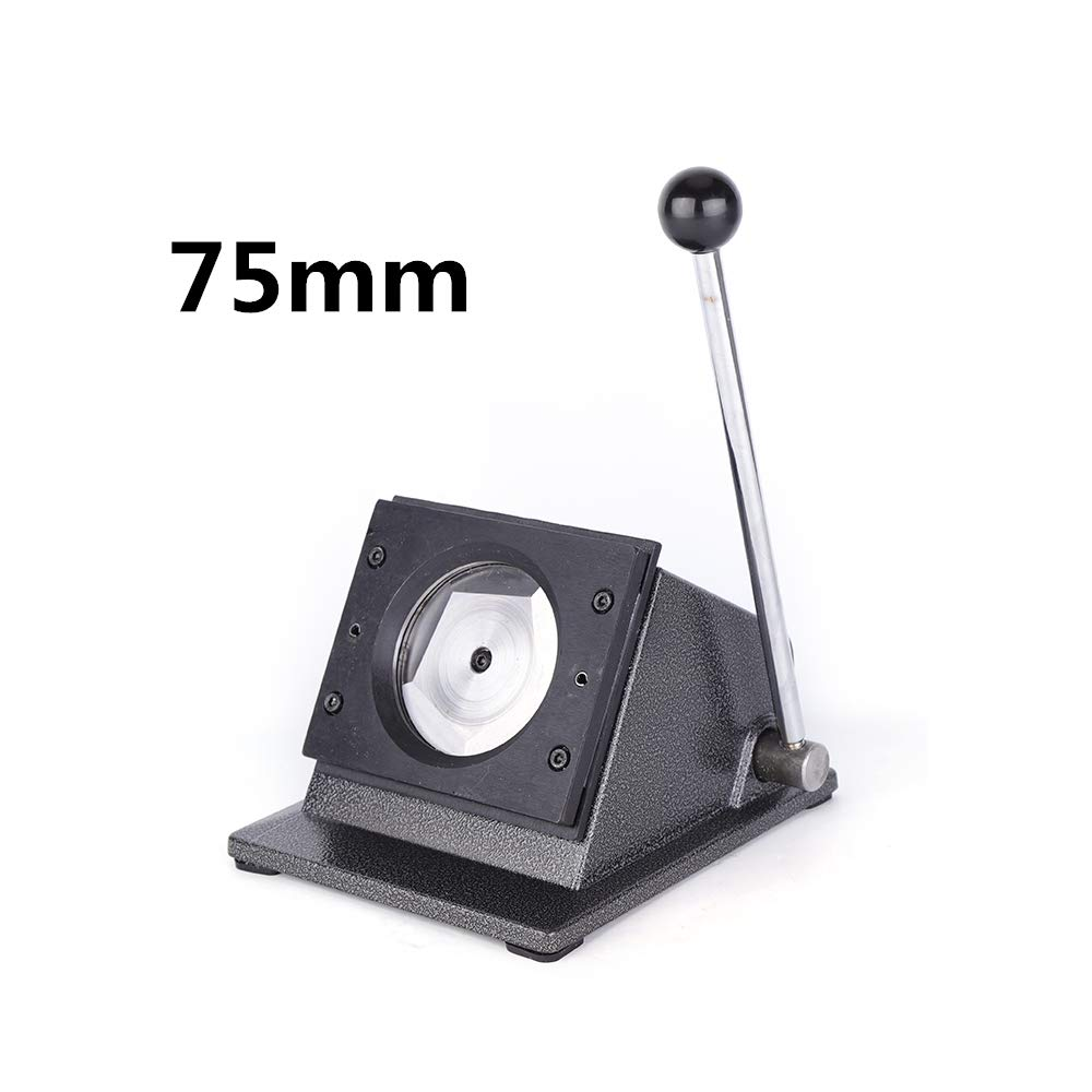 37mm / 75mm Round Punch Die Cutter Manual Graphic Badge Button Maker Multi Sheets Stack Paper Cutter USA Stock (75mm) by BOYU-SHITAI