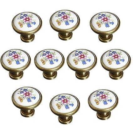 FBSHOP(TM) Set di 10 32 mm french Flair - Pomelli in ceramica dipinta a  mano fiore fungo design rotondo fatto a mano da cucina armadio e cassetto  ...
