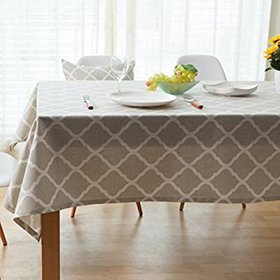 ColorBird Geometric Series Moroccan Pattern Cotton Linen Tablecloth for Dining Kitchen Living Decorative Tabletop Cover
