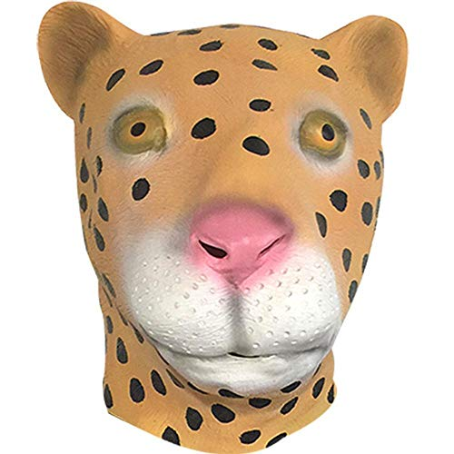 Rwdacfs Halloween mask,Leopard Mask Halloween Cartoon Cute Latex Tiara Masquerade Bar Performance Props ()