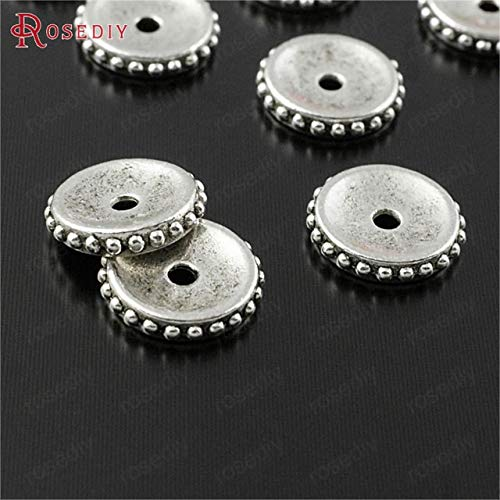 Laliva Accessories - 50PCS 6MM 9MM 11MM Antique Copper Plated Zinc Alloy Spacer Beads DIY Jewelry Findings Accessories - (Color: Antique Silver, Size: 11MM)