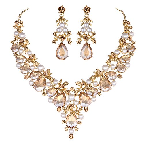 Youfir Bridal Rhinestone Simulated Pearl Necklace Earring Jewelry Set for Brides Wedding Party Dress(Champagne)