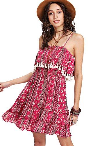- Milumia Women's Bohemian Floral Tassel Trim Ruffle Hem Spaghetti Strap Cami Dress Pink Large