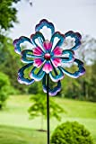 Evergreen Bursting Flower Kinetic Garden Stake