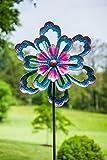 Evergreen Bursting Flower Kinetic Garden Stake