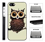 [TeleSkins] - Coffee Owl - iPhone 4 / 4S Black Plastic Case - Ultra Durable Slim & HARD PLASTIC Highly Protective Vibrant Snap On Designer Back Case / Cover for Girls. [Fits iPhone 4 / 4S]