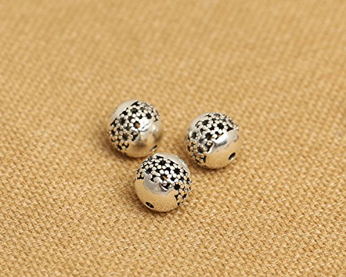 Luoyi 10mm Vintage Thai Sterling Silver Beads, Round with Plum Flower, Dot, Spacer Beads, DIY Jewelry (C026Z)